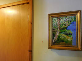 Oil Painting In Frame Wheelybin With Tree