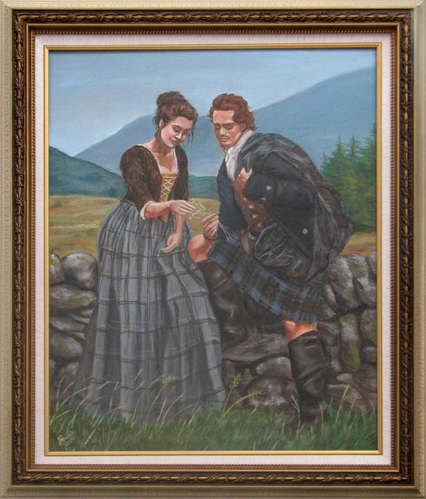 Outlander Jamie and Claire Fraser Portrait by lorinas