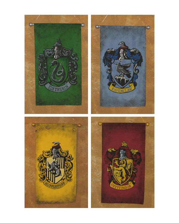 harry potter four houses of hogwarts banners by lorinas on deviantart. Black Bedroom Furniture Sets. Home Design Ideas