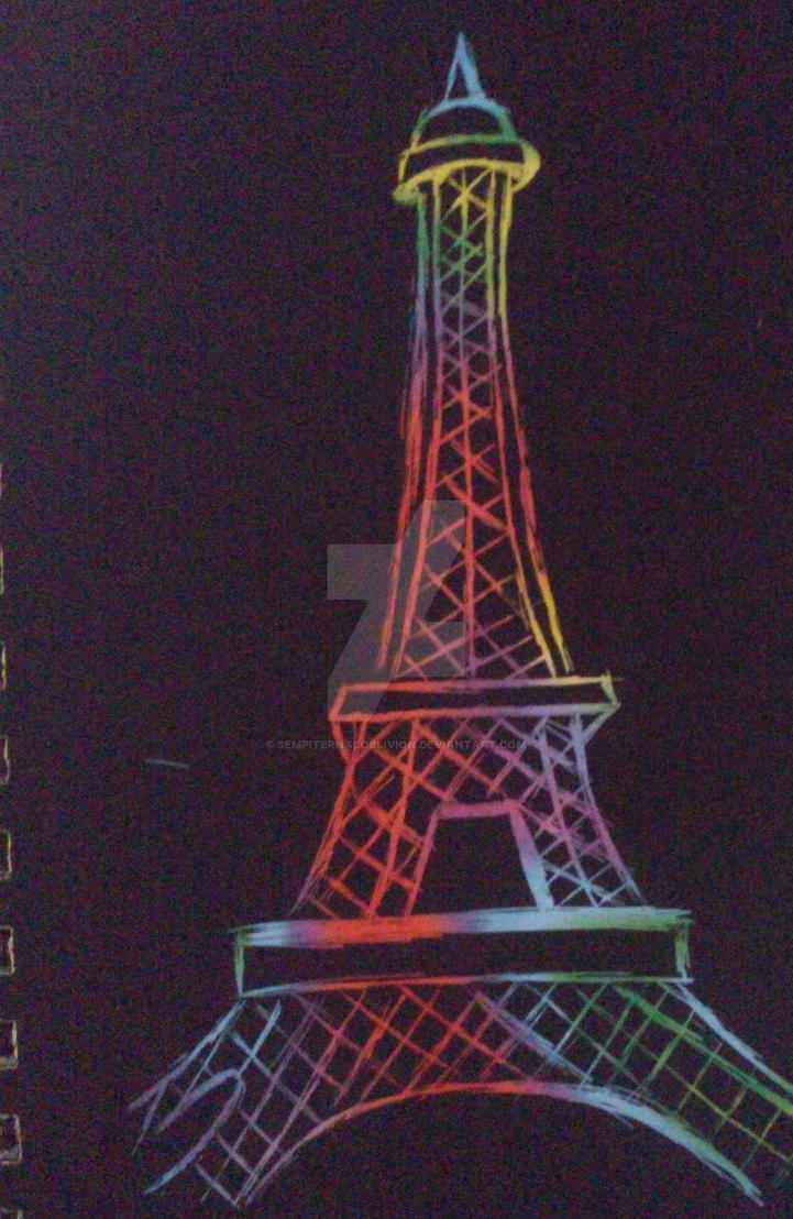 Rainbow Eiffel Tower by sempiternaloblivion