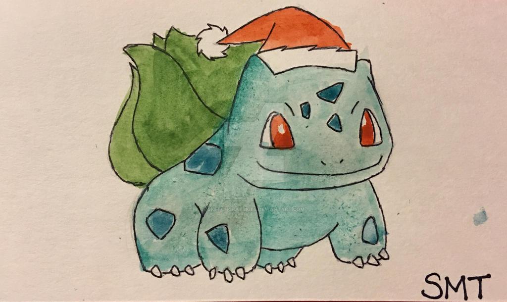 6bae299f Christmas Bulbasaur Watercolor by SketchGraySkies on DeviantArt