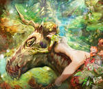 Unicorn and fairie in  forest