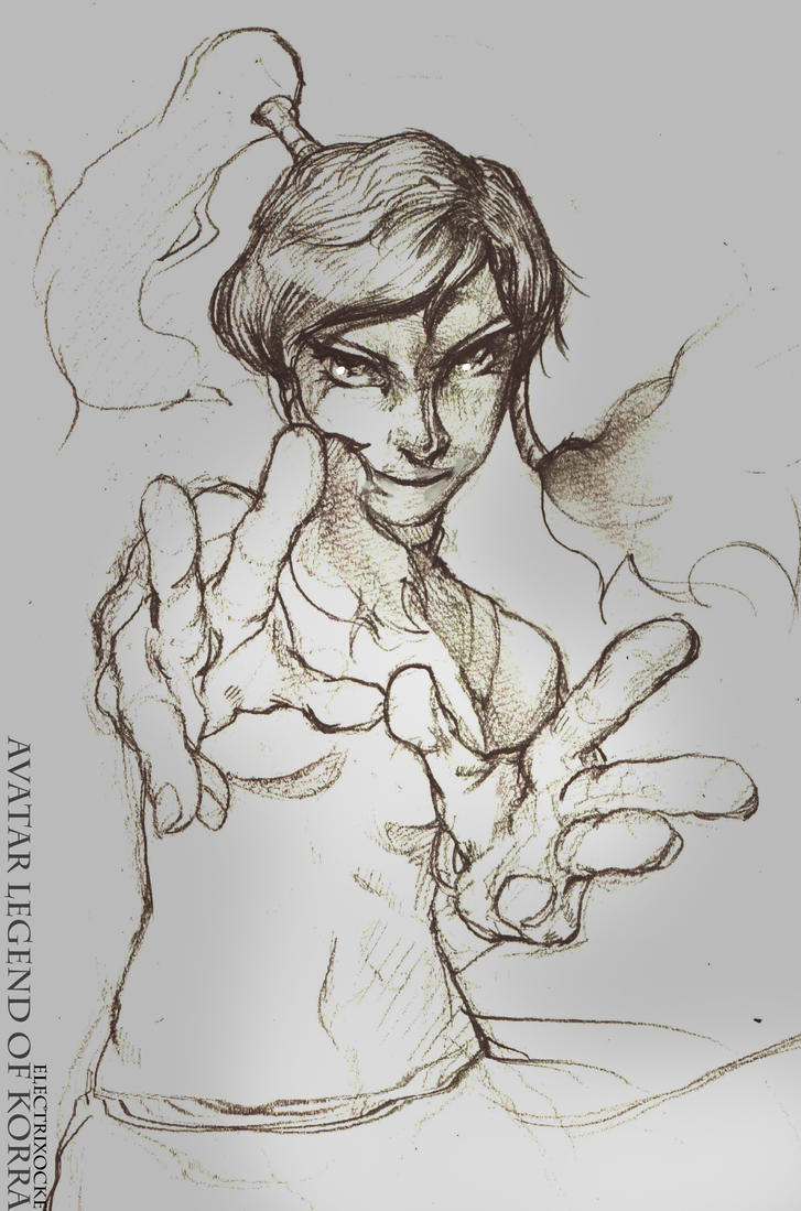legend of korra Pencil Sketch by Electrixocket
