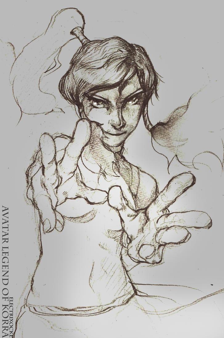 legend of korra Pencil Sketch by Electrixocket