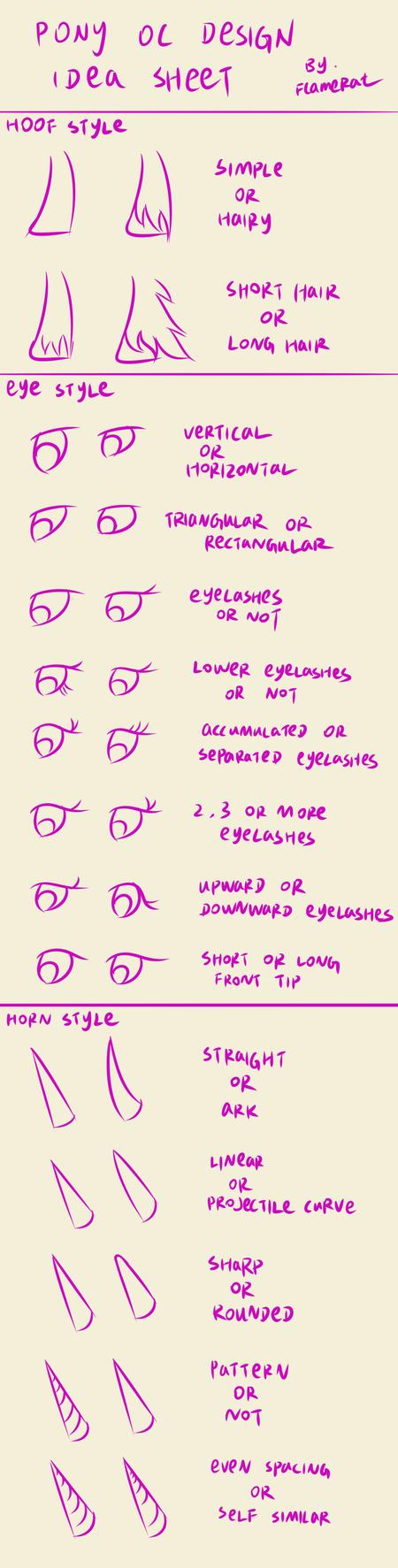 Pony OC design idea sheet: hoof, eye and horn by FlameRat-YehLon