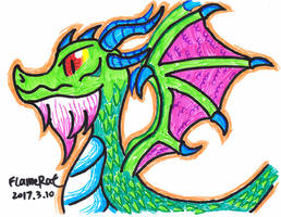 Random Dragon Done With Cheap Color Marker by FlameRat-YehLon