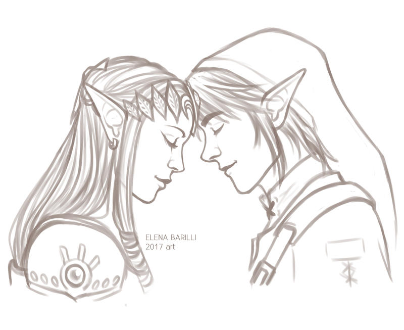 Link and Zelda SKETCH by Elena-Barilli