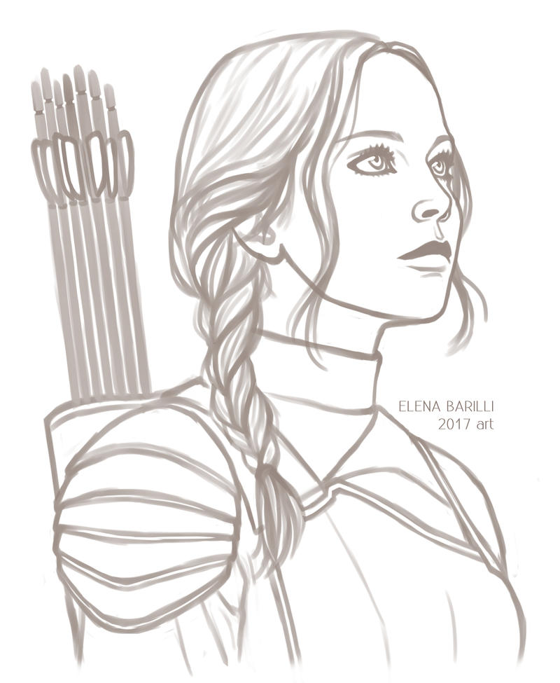 Katniss Everdeen SKETCH by Elena-Barilli