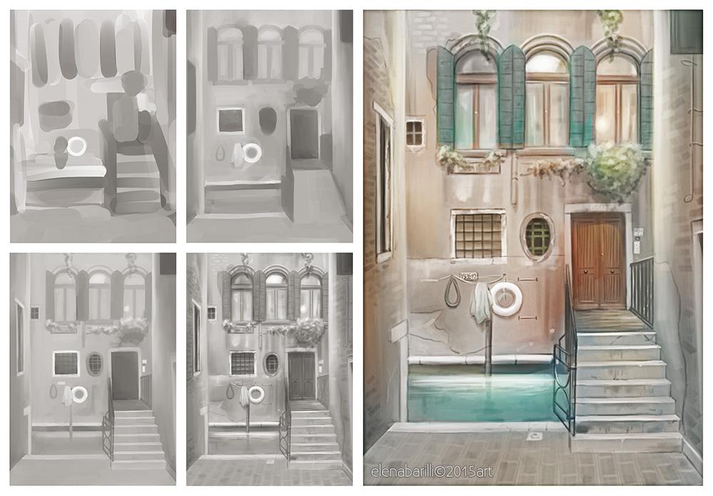 Venice digital painting by Elena-Barilli