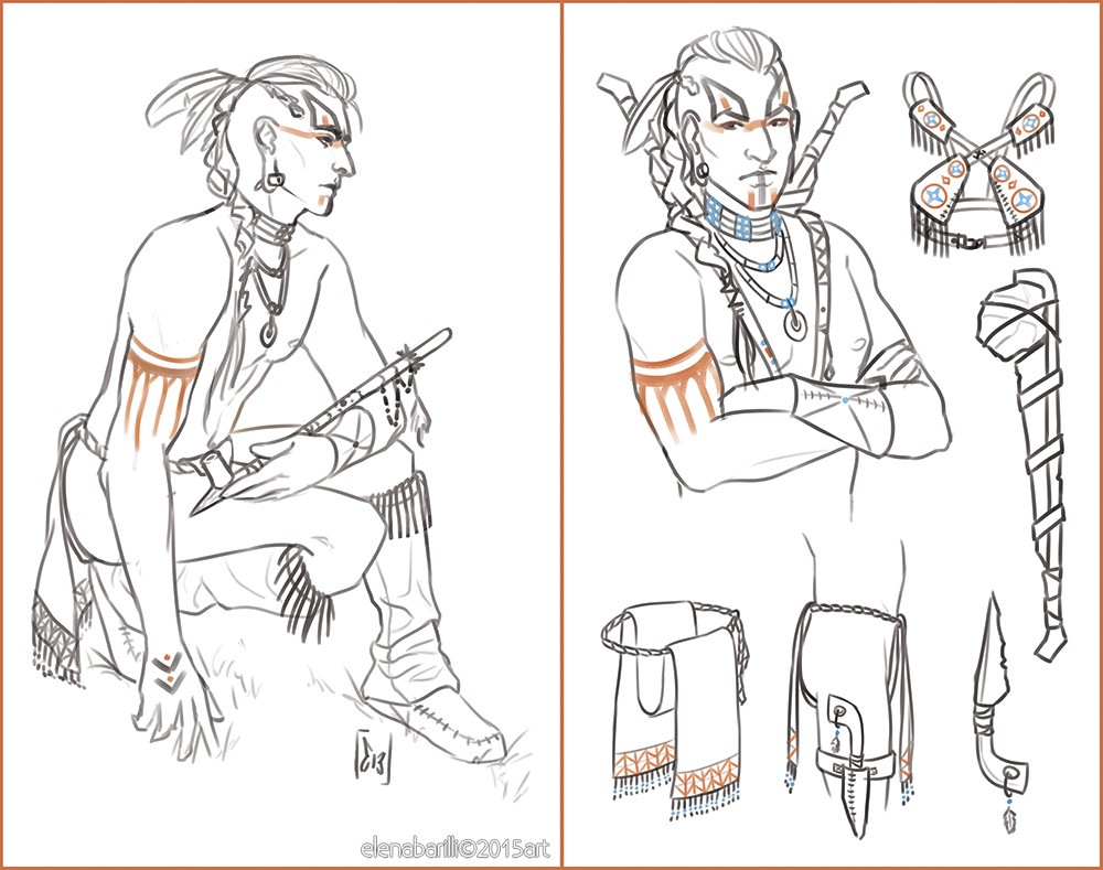 Native American character design by Elena-Barilli