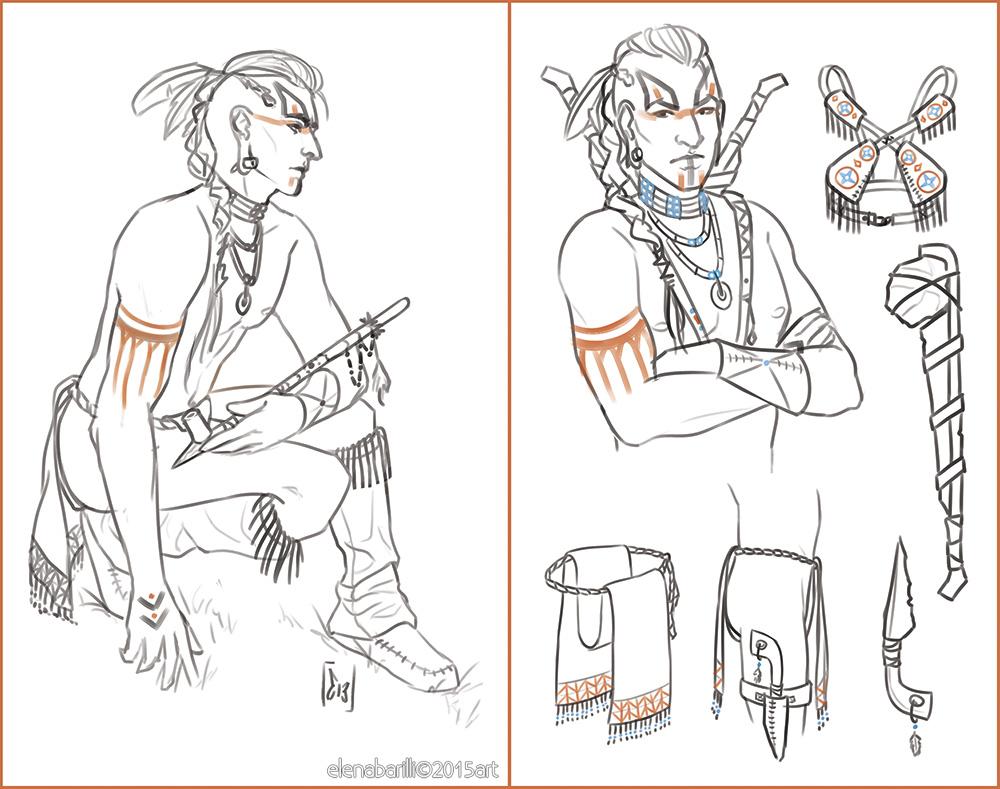 Native American character design by Elena-Barilli