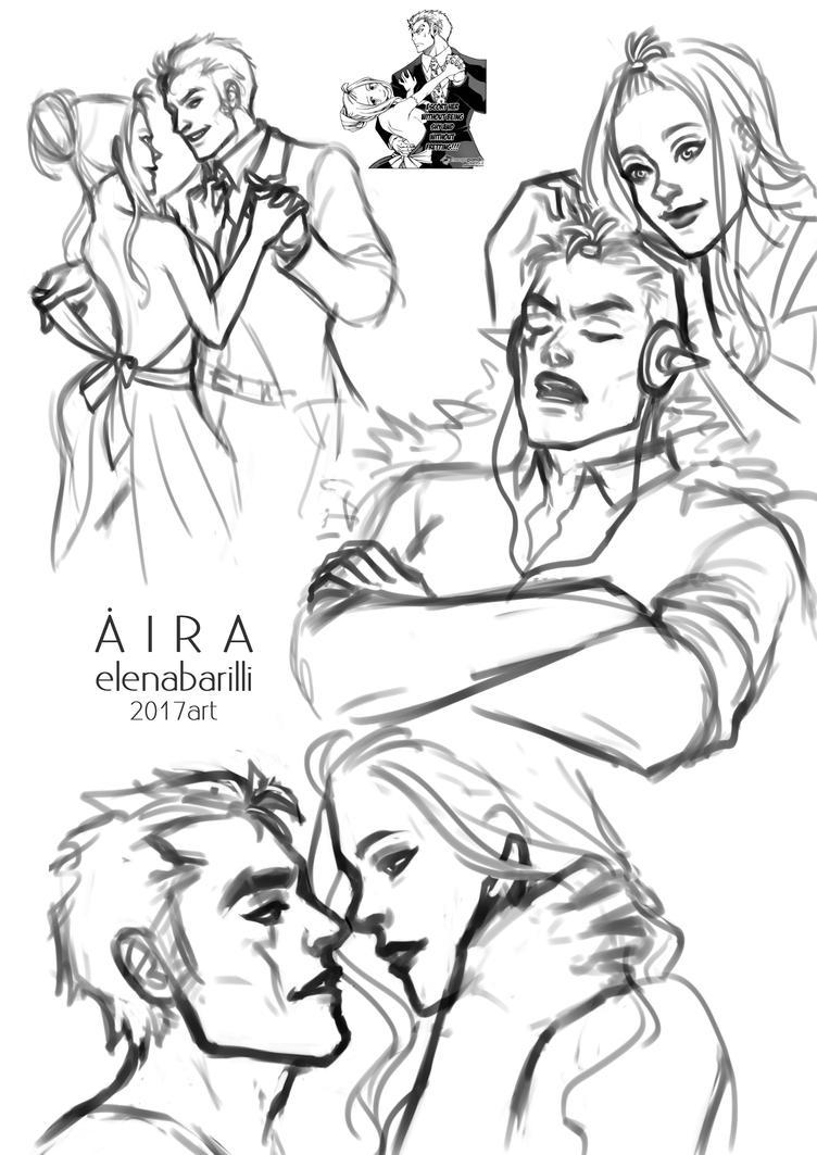 Laxus and Mirajane doodle by Elena-Barilli