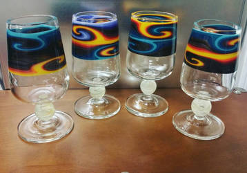 set of 4 glasses for a custom order by Alchemistglass