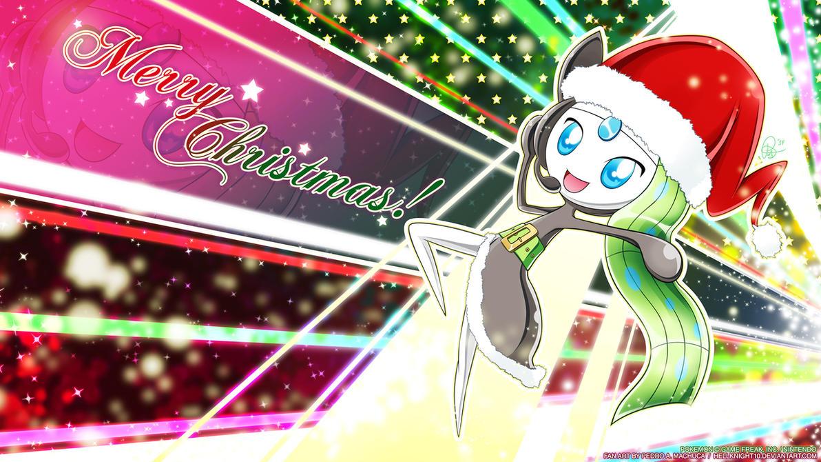 Meloetta Christmas Wallpaper by Hellknight10