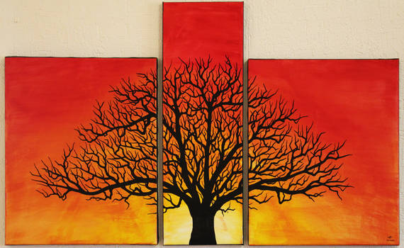 Silhouette arbre ensoleillee