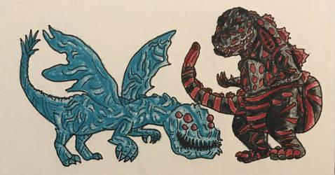 Chibi Kaiju 2: Winged Servum and Shin Godzilla by Dealwithitdewott