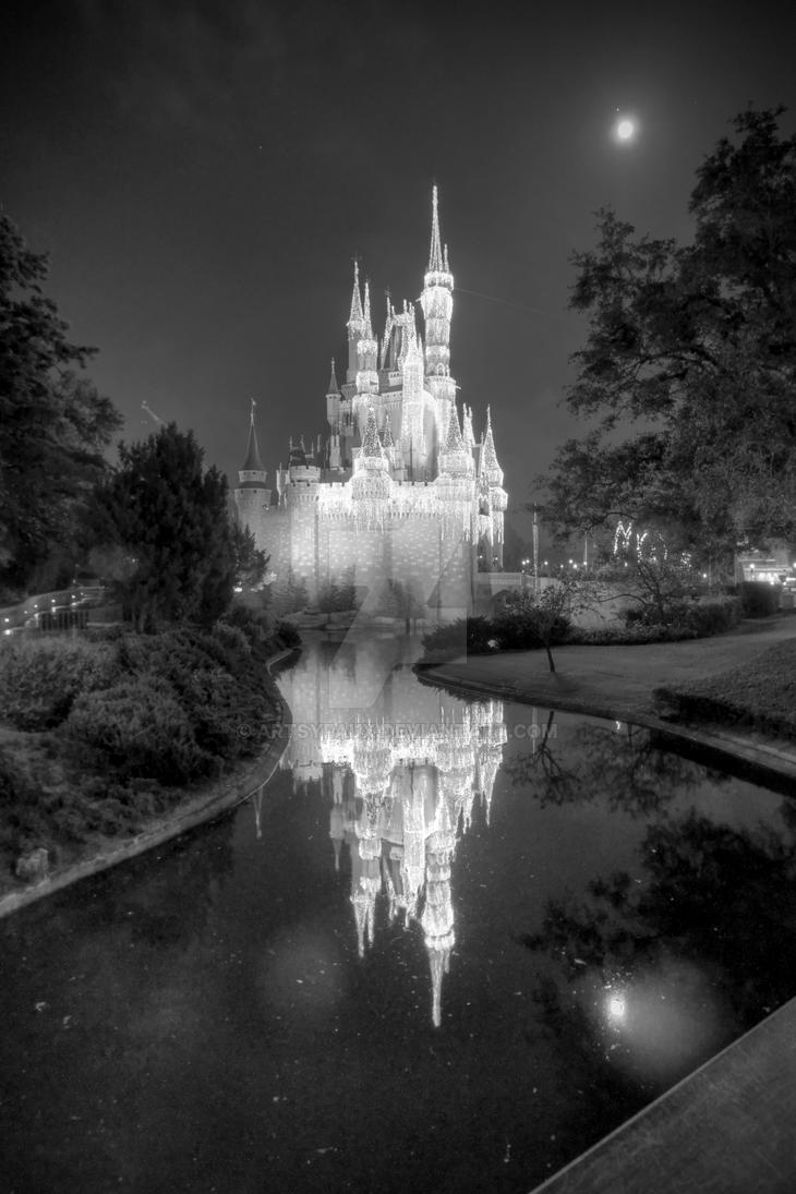 Castle reflection in black and white by artsyfaux