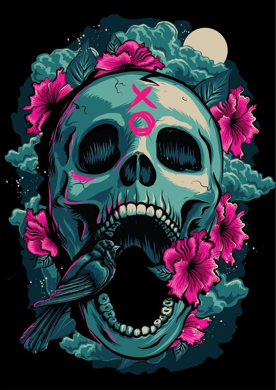 skull and bird illustration by kimwilson242 on deviantart