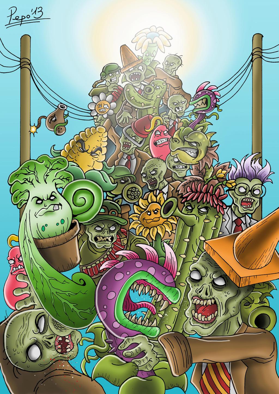 Plants vs zombies drawings plants vs zombies garden