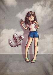 Pokemon commission: Alicia with Minccino
