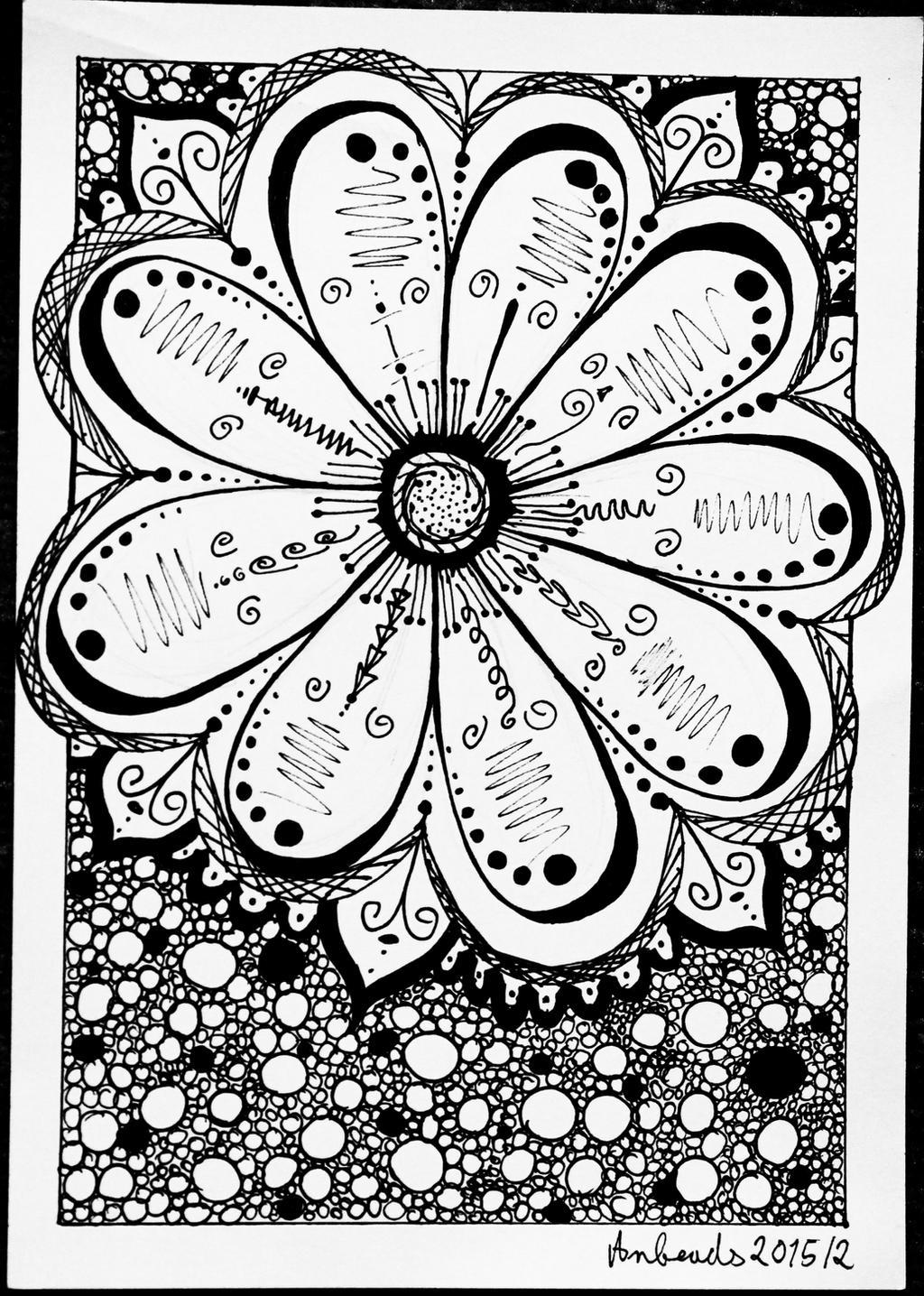 Zentangle Flower by Anbeads on DeviantArt