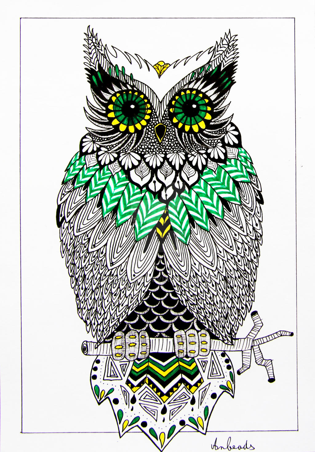 Zentangle owl by Anbeads on DeviantArt: anbeads.deviantart.com/art/Zentangle-owl-530061730