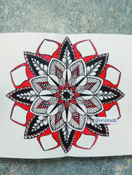 Black and red mandala