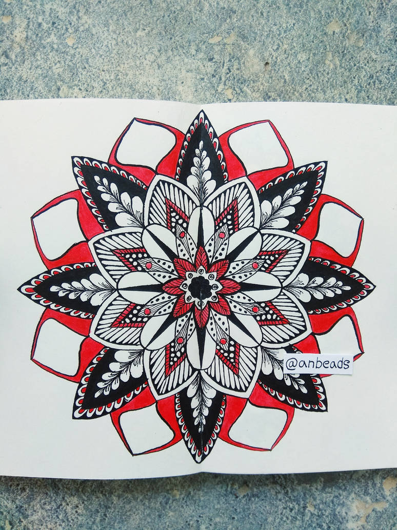 Black and red mandala by Anbeads