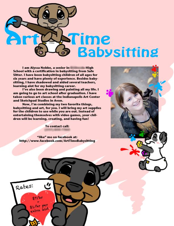 cute babysitting flyers