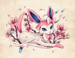 Seasons of Eevee - Sylveon and Cherry Blossoms