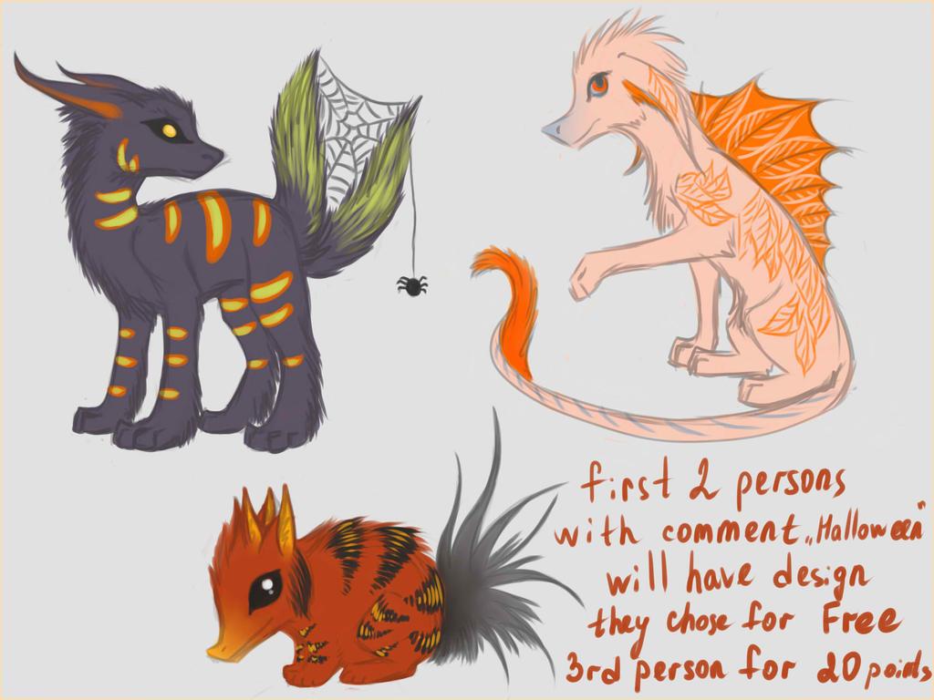 Halloween creature adoptables ALL SOLD by Darkylucifer
