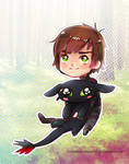 mini Toothless and Hiccup