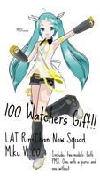 100 Watchers Gift! LAT Rin-Chan Now Squad Miku DL!