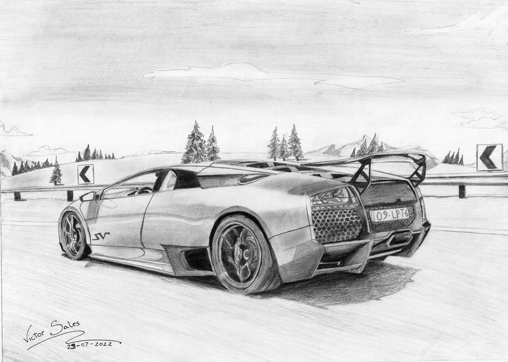 lamborghini murcielago lp670 4 sv by vsales - Lamborghini Black And White Drawing