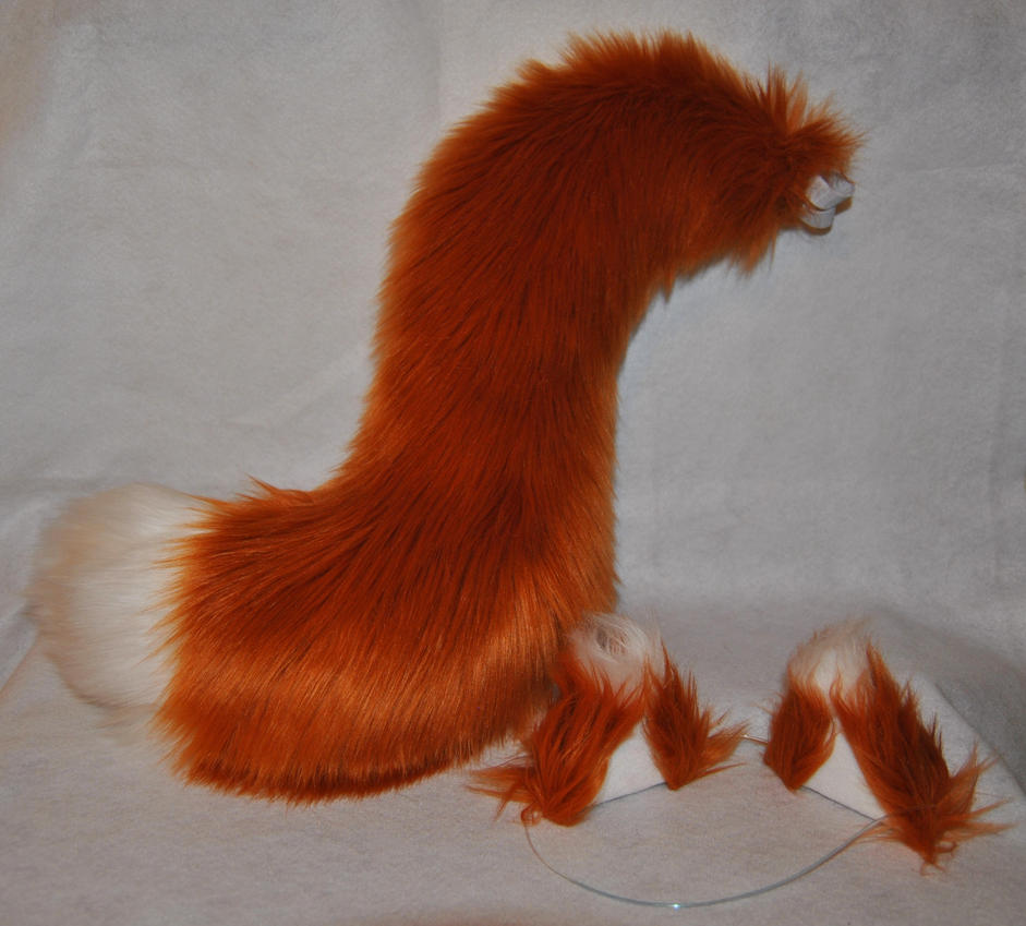 Copper Fox Tail and Ears! FOR SALE by Dark-Wolf-Grayson