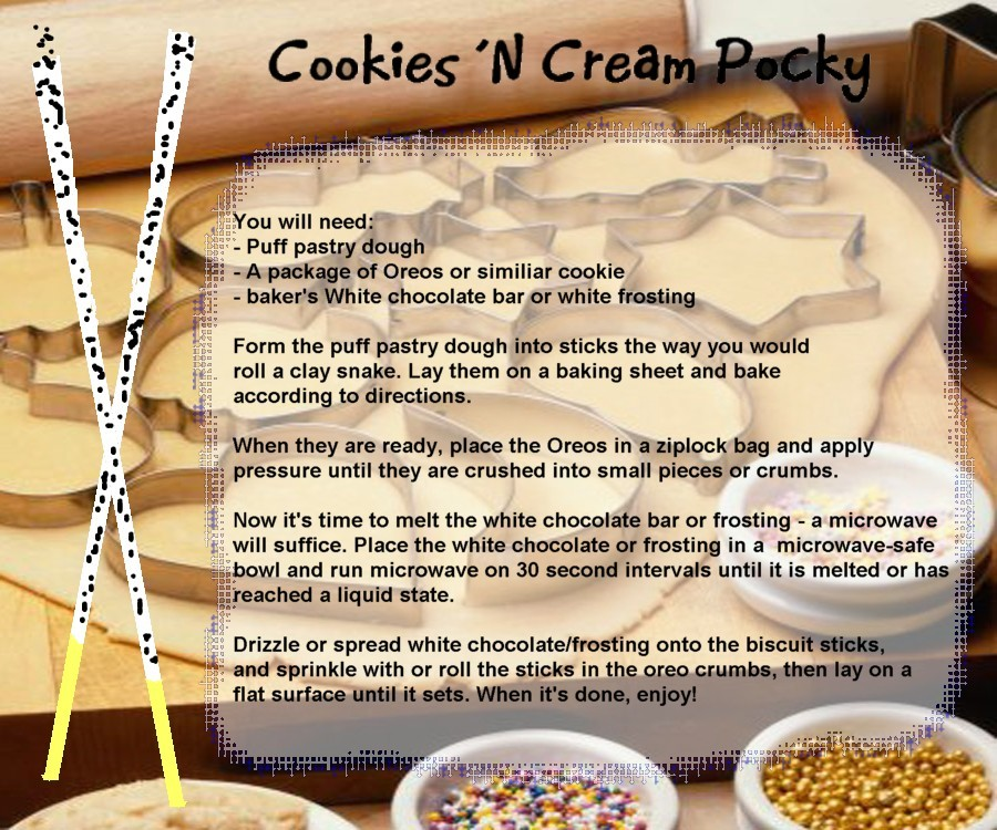 Cookies 'n Cream Pocky recipe by UtterPsychosis