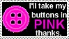 Coraline Button Pink Stamp by UtterPsychosis