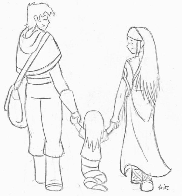 Mobile/happy Family Sketch Sketch Coloring Page