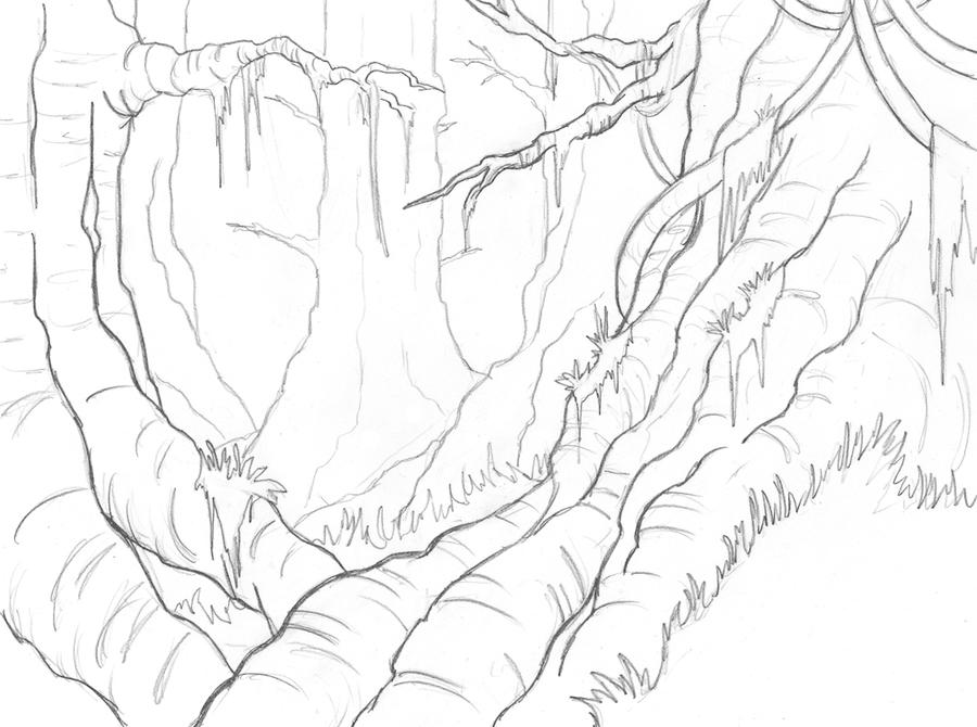 Line Drawing Jungle : Felarya jungle sketch by blazbaros on deviantart
