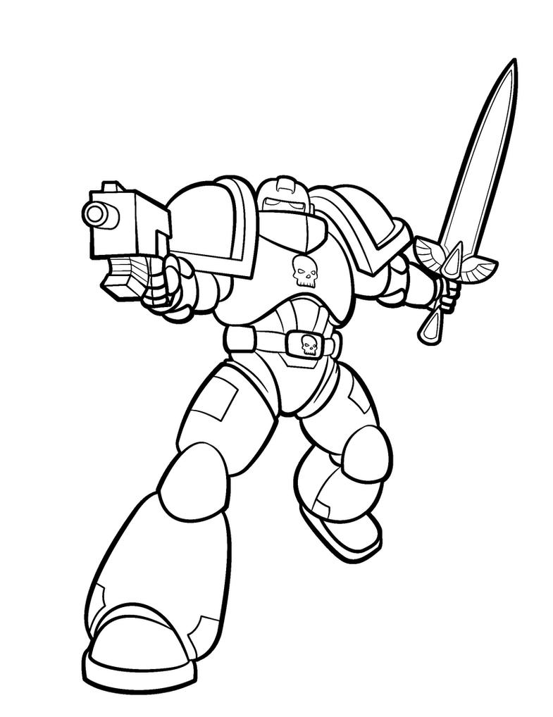 Space Marine Lineart by Blazbaros