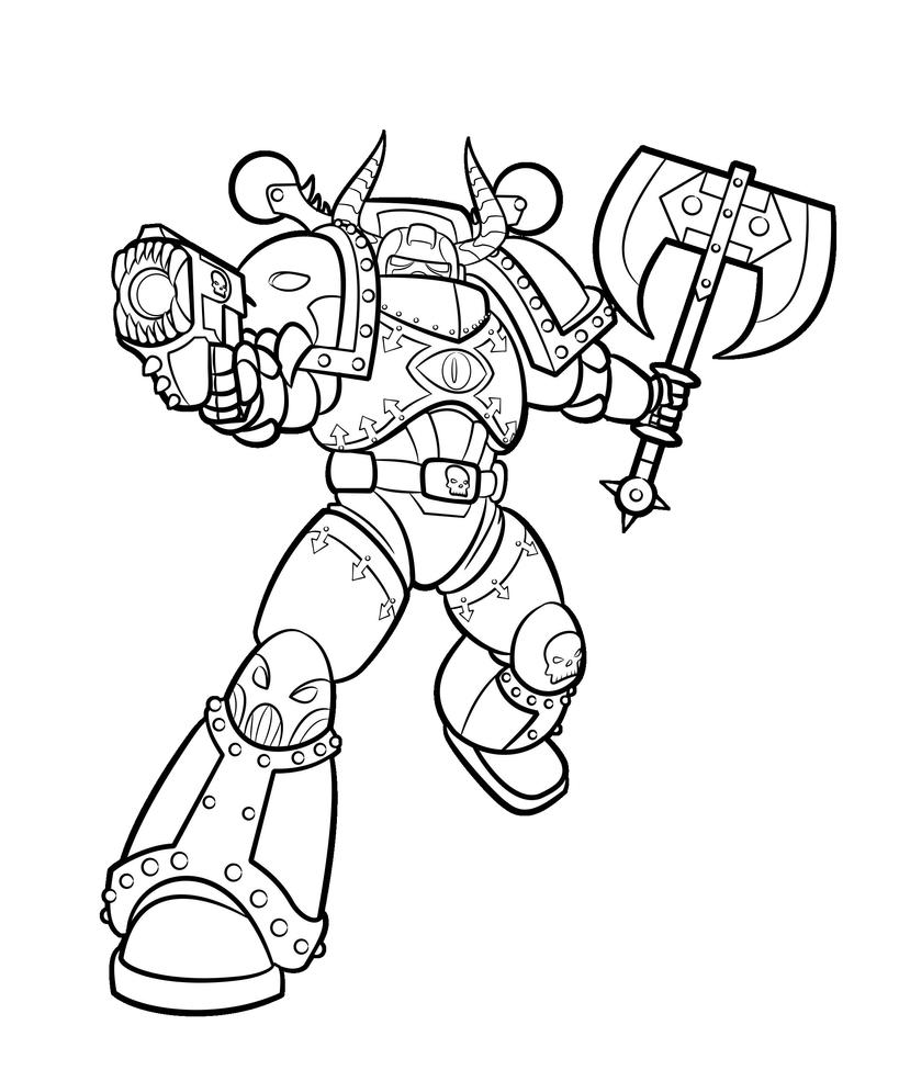 Chaos marine lineart by blazbaros on deviantart for Marine coloring pages