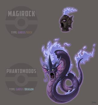 Ghost Magikarp and Gyarados by Blazbaros