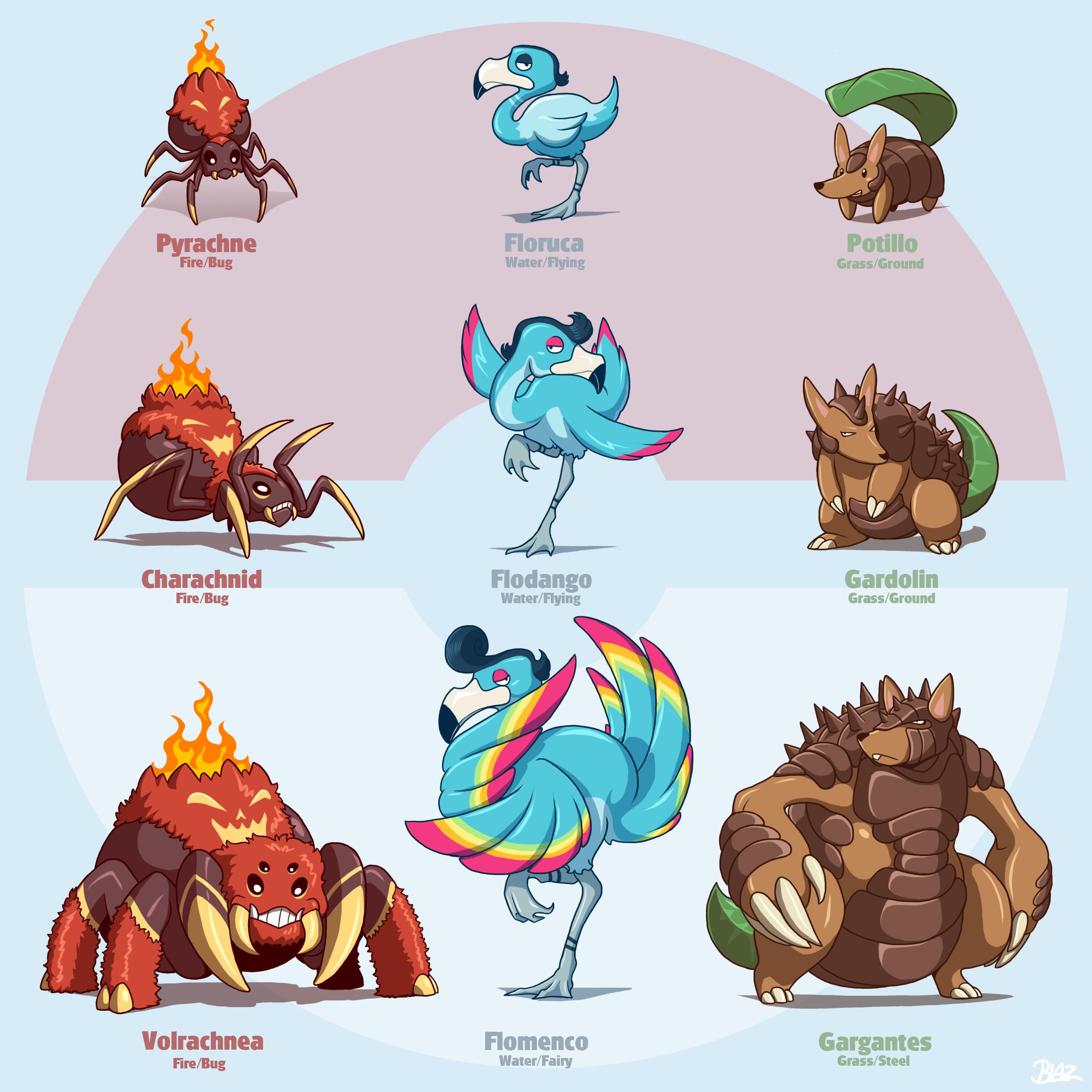 Pokemon Fakemon Starters Images | Pokemon Images