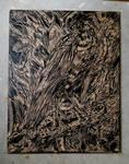 Crow wood cut print