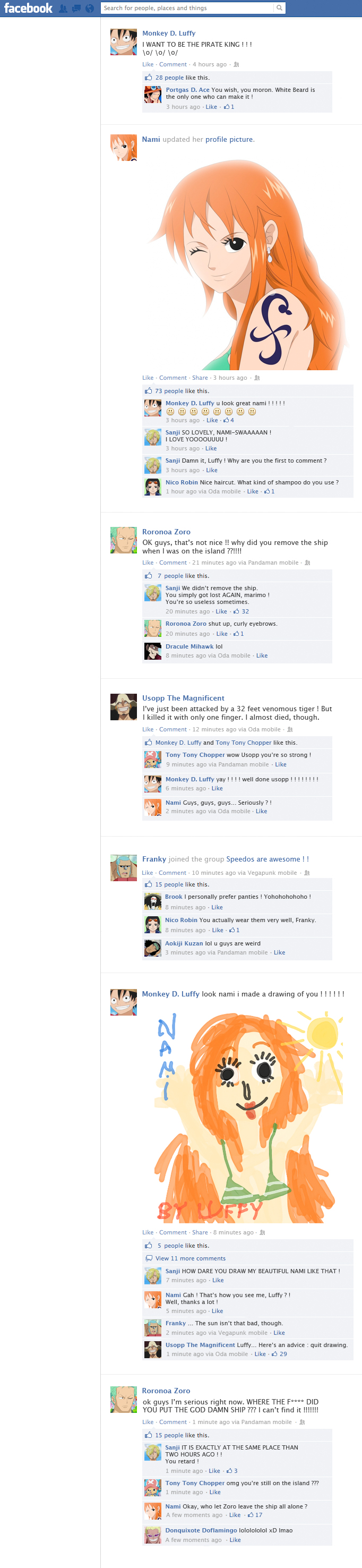 One Piece on Facebook, part 1 by EtaCephei