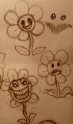 Undertale doodles #14 - Floweys by 97emisie