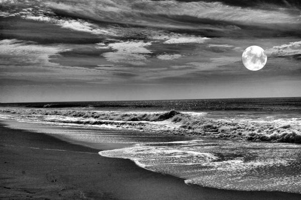 Full Moon and sea background