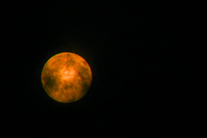 Orange Blood Moon Stock
