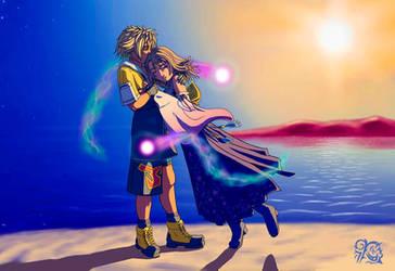 Yuna finds Tidus by Krystal-Anime