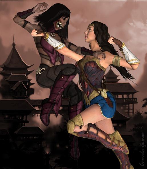 Mileena vs Wonder Woman by MsLiang